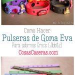 Se puede hacer pulseras de goma eva para los adornos Crocs (Jibbitz). Son fáciles de hacer y son perfectas para un recuerdo en la fiestas de niños.