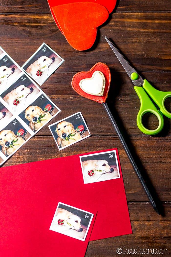 sellos postales para el Día de San Valentín