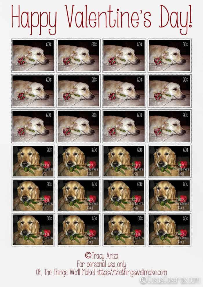 Una hoja de sellos divertidos para San Valentín