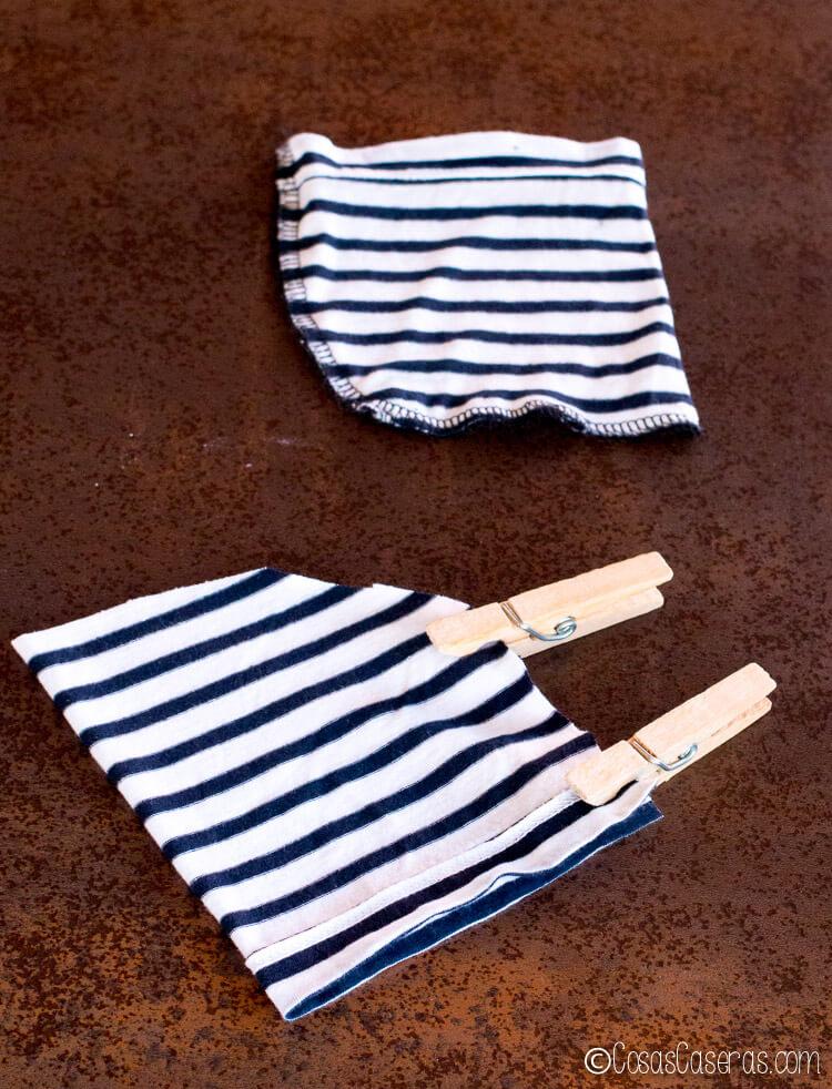 preparando las mangas para hacer bolsitas