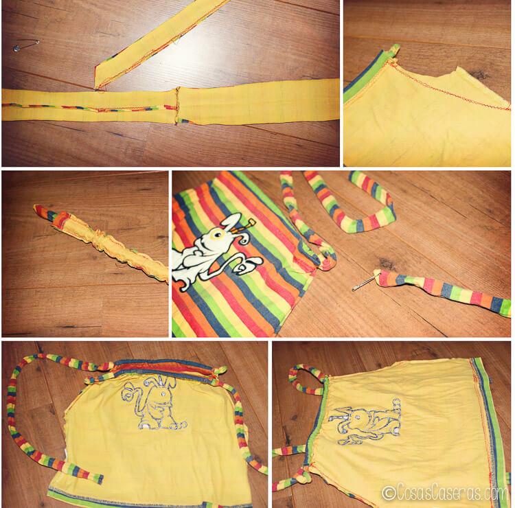 los pasos de como hacer una mochila de una camiseta