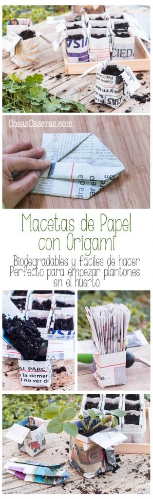 Puedes reciclar periódicos haciendo macetas de papel con origami. Estas macetas son biodegradables y son perfectos para empezar plantones para el huerto.