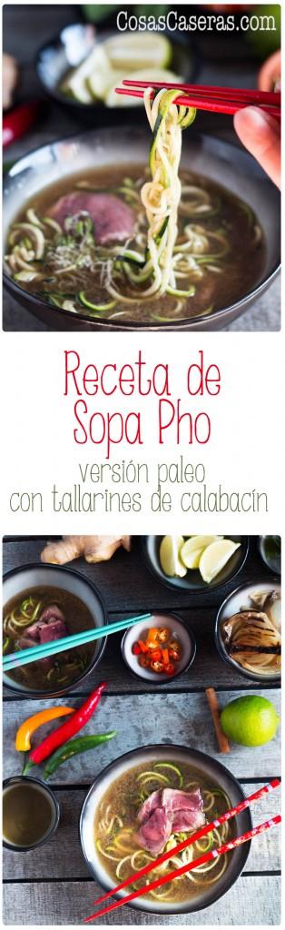 Esta receta de sopa pho transforma un caldo de ternera ordinario en algo exótico y espectacular. Esta versión paleo usa tallarines de calabacín.