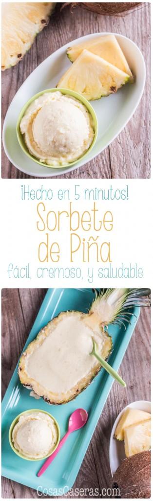 Rápido de hacer, este cremoso sorbete de piña se puede elaborar en sólo 5 minutos y es un postre dulce, pero saludable.