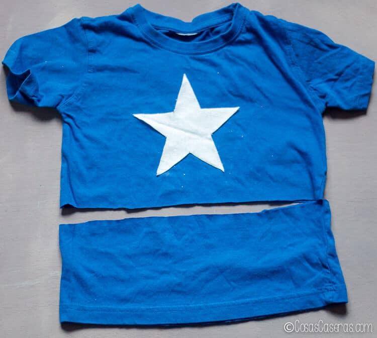 Foto mostrando dónde cortar la camiseta para hacer una camiseta de Capitán América