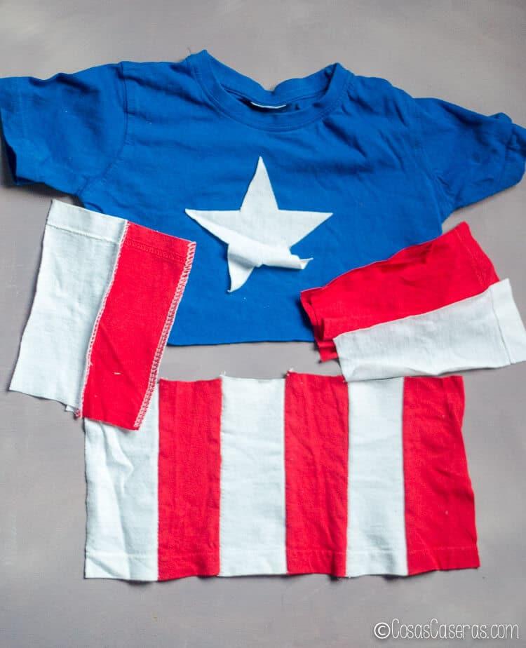 Foto mostrando cómo coser las rayas para la camiseta de Capitán América