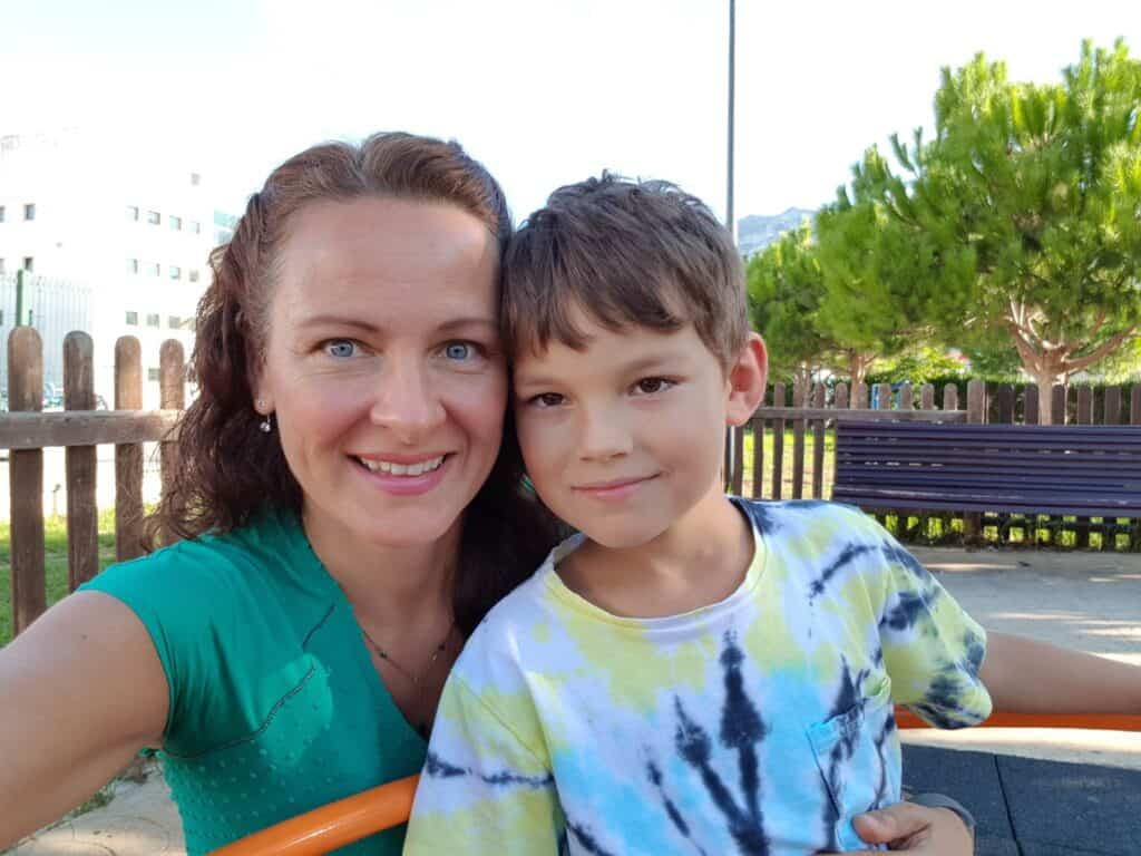 Tracy con su hijo