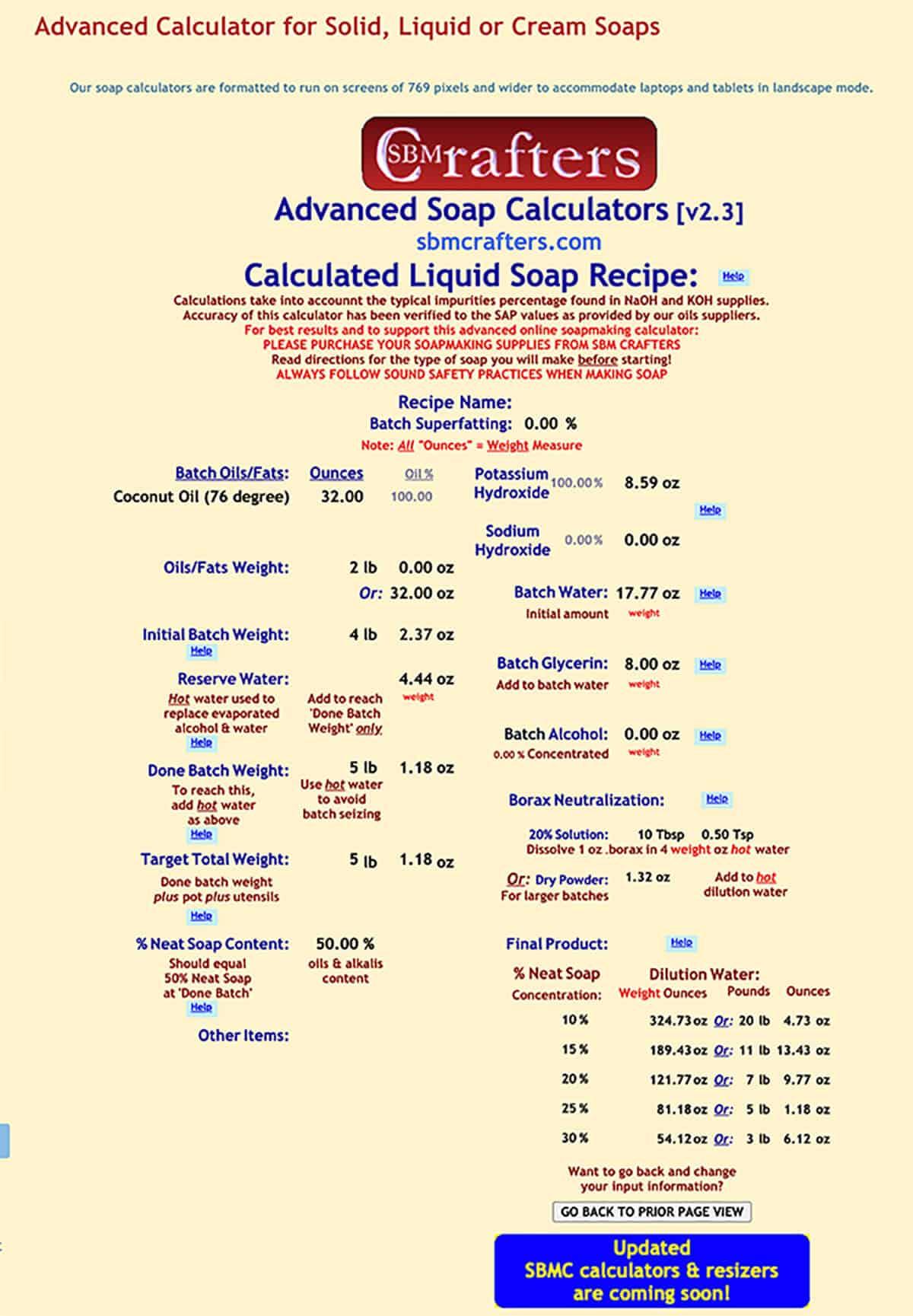 Captura de pantalla de una receta de jabón calculada por SBM Crafters