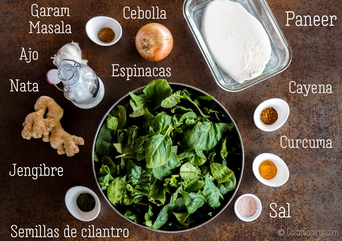 ingredientes para palak paneer