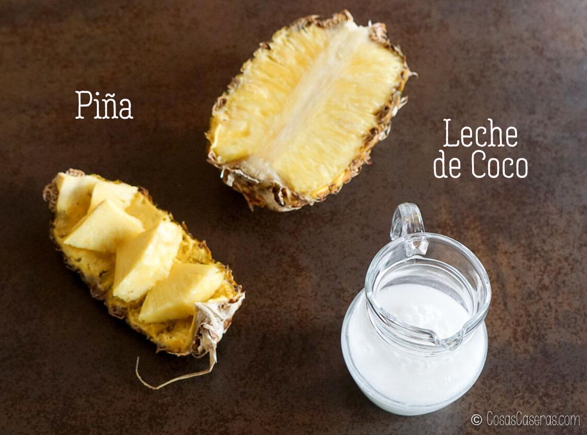 piña y leche de coco