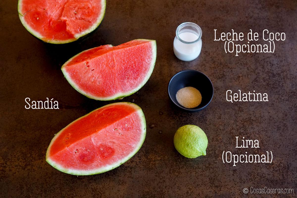 Ingredientes para polos de sandía y gelatina.