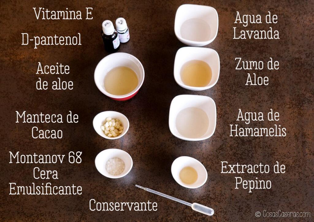 ingredientes para una crema after sun casera