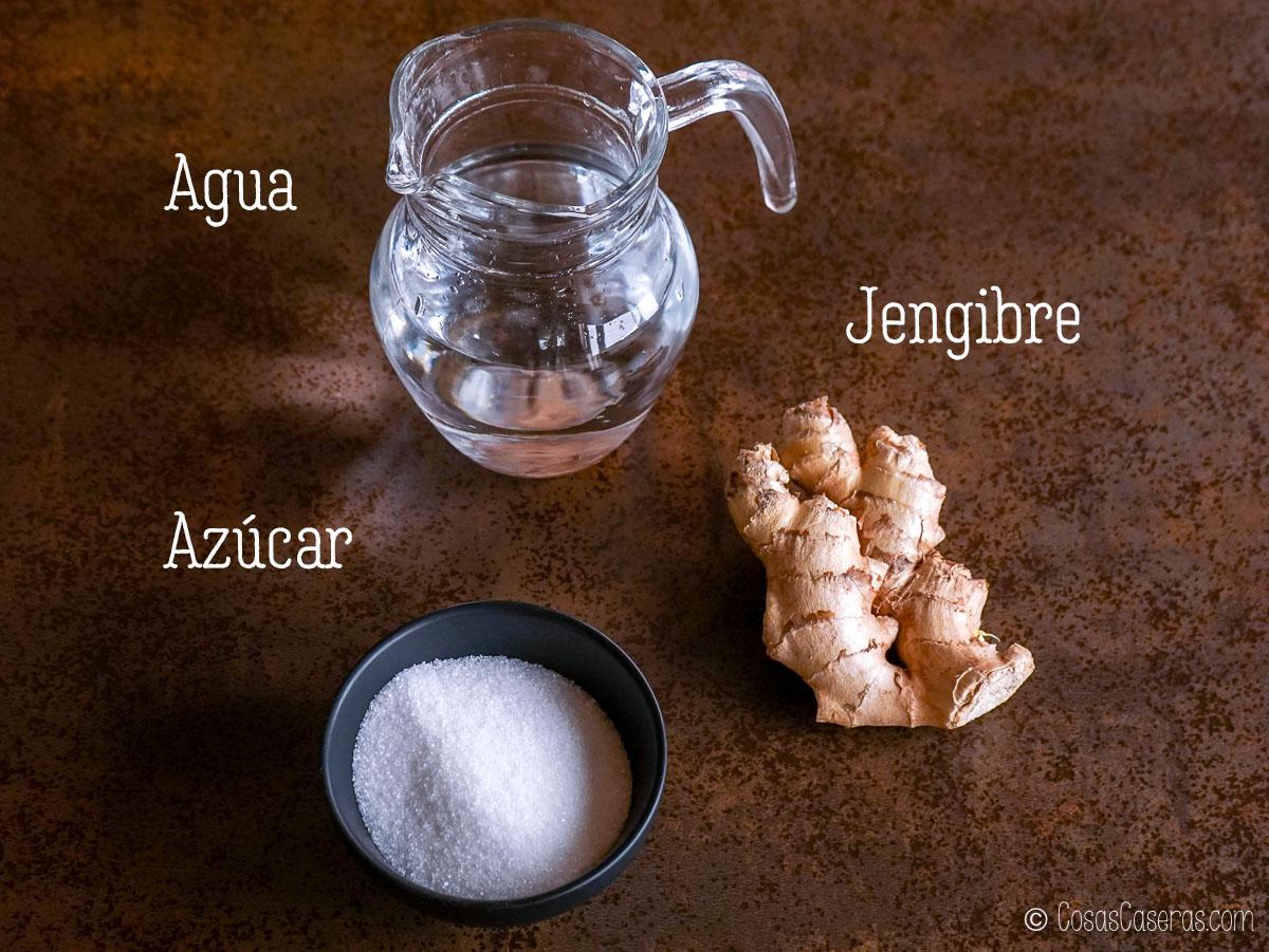 jengibre, azúcar, y agua
