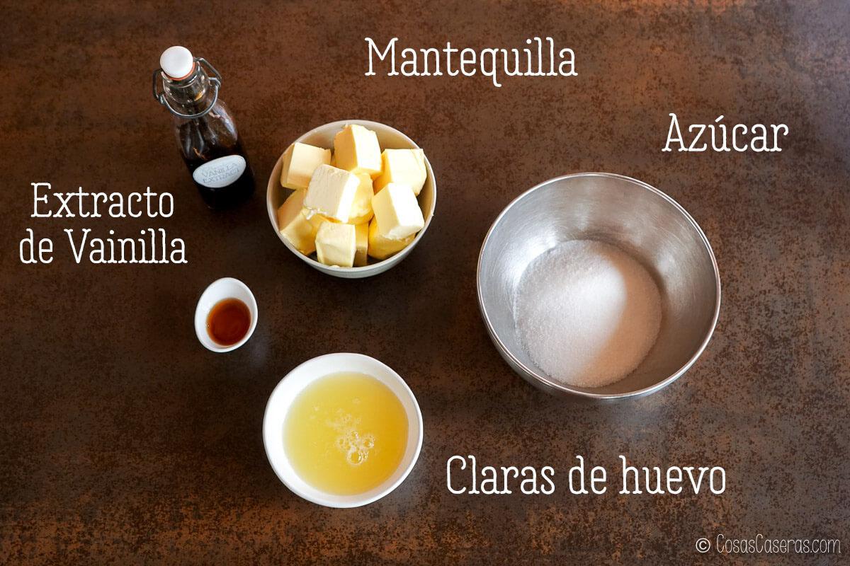 ingredientes para una buttercream de merengue suizo