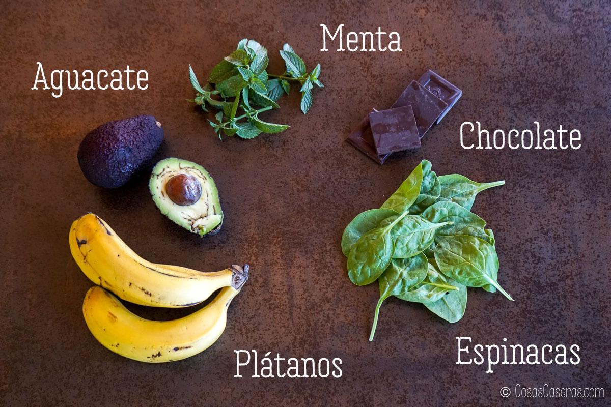 ingredientes para el helado de menta