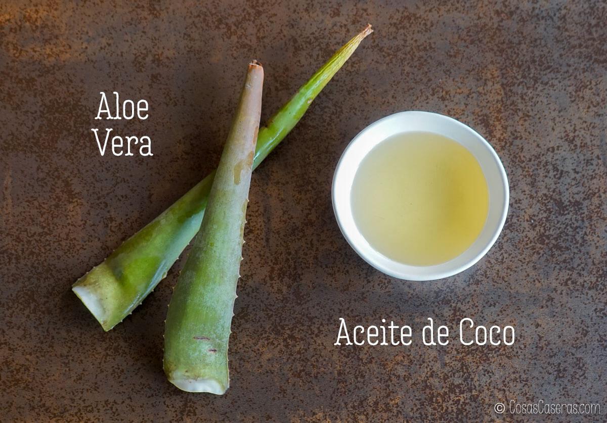 hojas de aloe vera y aceite de coco en un bol