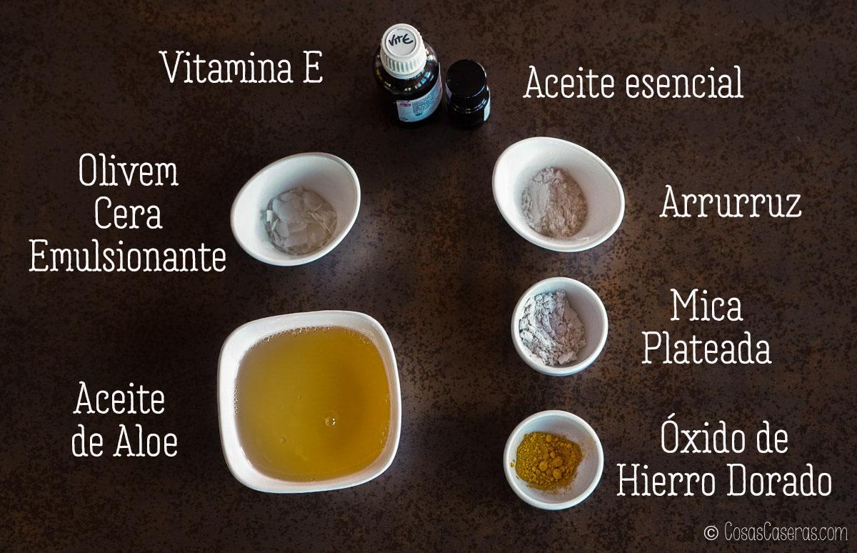 ingredientes para un aceite corporal luminoso