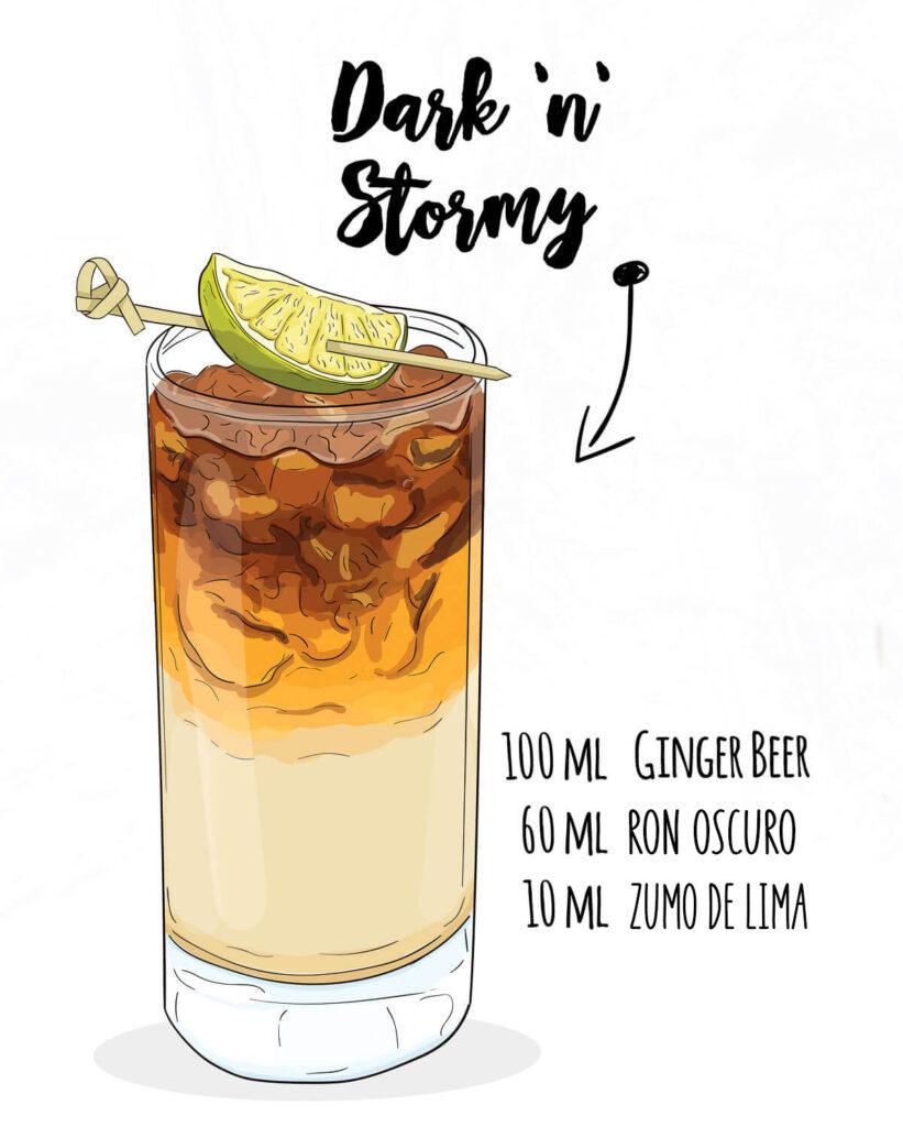 Un dibujo de un dark n stormy con los ingredientes al lado